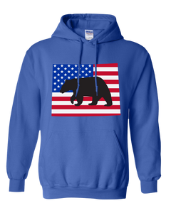 Pullover Hooded Sweatshirt Wyoming Royal Black Bear Vibrant Design High Quality Tight Knit Ring Spun Low Maintenance Cotton Printed With The Newest Available Color Transfer Technology