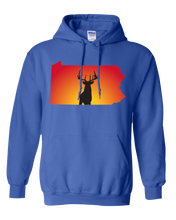 Load image into Gallery viewer, Pullover Hooded Sweatshirt Pennsylvania Royal Whitetail Deer Vibrant Design High Quality Tight Knit Ring Spun Low Maintenance Cotton Printed With The Newest Available Color Transfer Technology