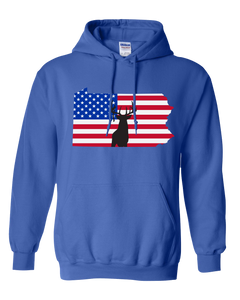 Pullover Hooded Sweatshirt Pennsylvania Royal Whitetail Deer Vibrant Design High Quality Tight Knit Ring Spun Low Maintenance Cotton Printed With The Newest Available Color Transfer Technology