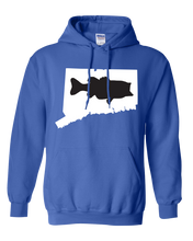 Load image into Gallery viewer, Pullover Hooded Sweatshirt Connecticut Royal Large Mouth Bass Vibrant Design High Quality Tight Knit Ring Spun Low Maintenance Cotton Printed With The Newest Available Color Transfer Technology