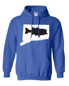 Pullover Hooded Sweatshirt Connecticut Royal Large Mouth Bass Vibrant Design High Quality Tight Knit Ring Spun Low Maintenance Cotton Printed With The Newest Available Color Transfer Technology