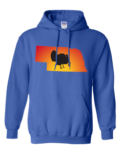 Pullover Hooded Sweatshirt Nebraska Royal Turkey Vibrant Design High Quality Tight Knit Ring Spun Low Maintenance Cotton Printed With The Newest Available Color Transfer Technology