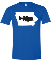 Load image into Gallery viewer, Short Sleeve T-Shirt Iowa Royal Large Mouth Bass Vibrant Design High Quality Tight Knit Ring Spun Low Maintenance Cotton Printed With The Newest Available Color Transfer Technology