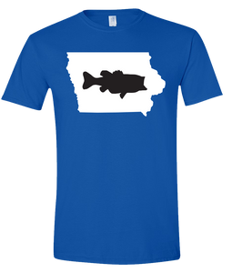 Short Sleeve T-Shirt Iowa Royal Large Mouth Bass Vibrant Design High Quality Tight Knit Ring Spun Low Maintenance Cotton Printed With The Newest Available Color Transfer Technology
