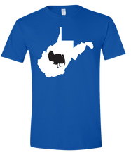 Load image into Gallery viewer, Short Sleeve T-Shirt West Virginia Royal Turkey Vibrant Design High Quality Tight Knit Ring Spun Low Maintenance Cotton Printed With The Newest Available Color Transfer Technology