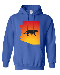 Pullover Hooded Sweatshirt Arizona Royal Mountain Lion Vibrant Design High Quality Tight Knit Ring Spun Low Maintenance Cotton Printed With The Newest Available Color Transfer Technology