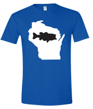 Load image into Gallery viewer, Short Sleeve T-Shirt Wisconsin Royal Large Mouth Bass Vibrant Design High Quality Tight Knit Ring Spun Low Maintenance Cotton Printed With The Newest Available Color Transfer Technology