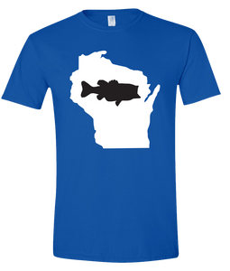 Short Sleeve T-Shirt Wisconsin Royal Large Mouth Bass Vibrant Design High Quality Tight Knit Ring Spun Low Maintenance Cotton Printed With The Newest Available Color Transfer Technology
