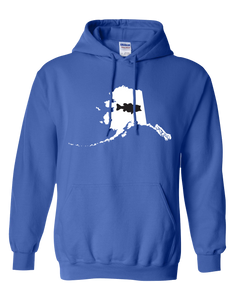 Pullover Hooded Sweatshirt Alaska Royal Large Mouth Bass Vibrant Design High Quality Tight Knit Ring Spun Low Maintenance Cotton Printed With The Newest Available Color Transfer Technology