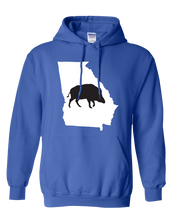 Load image into Gallery viewer, Pullover Hooded Sweatshirt Georgia Royal Wild Hog Vibrant Design High Quality Tight Knit Ring Spun Low Maintenance Cotton Printed With The Newest Available Color Transfer Technology