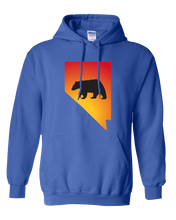 Load image into Gallery viewer, Pullover Hooded Sweatshirt Nevada Royal Black Bear Vibrant Design High Quality Tight Knit Ring Spun Low Maintenance Cotton Printed With The Newest Available Color Transfer Technology