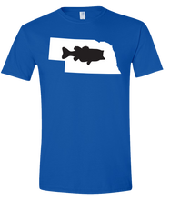 Load image into Gallery viewer, Short Sleeve T-Shirt Nebraska Royal Large Mouth Bass Vibrant Design High Quality Tight Knit Ring Spun Low Maintenance Cotton Printed With The Newest Available Color Transfer Technology