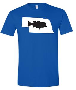Short Sleeve T-Shirt Nebraska Royal Large Mouth Bass Vibrant Design High Quality Tight Knit Ring Spun Low Maintenance Cotton Printed With The Newest Available Color Transfer Technology