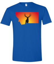 Load image into Gallery viewer, Short Sleeve T-Shirt Montana Royal Mule Deer Vibrant Design High Quality Tight Knit Ring Spun Low Maintenance Cotton Printed With The Newest Available Color Transfer Technology