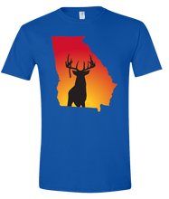 Load image into Gallery viewer, Short Sleeve T-Shirt Georgia Royal Whitetail Deer Vibrant Design High Quality Tight Knit Ring Spun Low Maintenance Cotton Printed With The Newest Available Color Transfer Technology