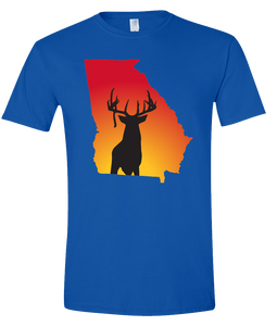 Short Sleeve T-Shirt Georgia Royal Whitetail Deer Vibrant Design High Quality Tight Knit Ring Spun Low Maintenance Cotton Printed With The Newest Available Color Transfer Technology