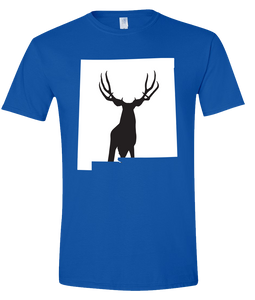 Short Sleeve T-Shirt New Mexico Royal Mule Deer Vibrant Design High Quality Tight Knit Ring Spun Low Maintenance Cotton Printed With The Newest Available Color Transfer Technology