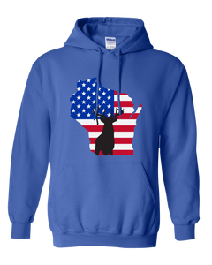 Pullover Hooded Sweatshirt Wisconsin Royal Whitetail Deer Vibrant Design High Quality Tight Knit Ring Spun Low Maintenance Cotton Printed With The Newest Available Color Transfer Technology