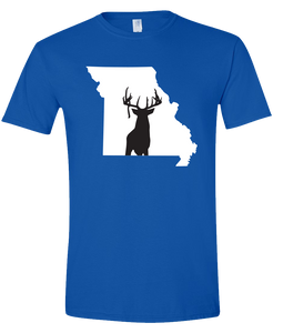 Short Sleeve T-Shirt Missouri Royal Whitetail Deer Vibrant Design High Quality Tight Knit Ring Spun Low Maintenance Cotton Printed With The Newest Available Color Transfer Technology