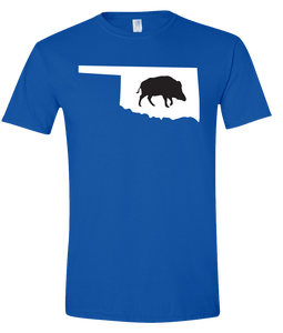 Short Sleeve T-Shirt Oklahoma Royal Wild Hog Vibrant Design High Quality Tight Knit Ring Spun Low Maintenance Cotton Printed With The Newest Available Color Transfer Technology