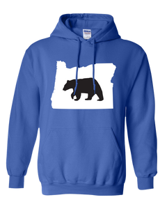 Pullover Hooded Sweatshirt Oregon Royal Black Bear Vibrant Design High Quality Tight Knit Ring Spun Low Maintenance Cotton Printed With The Newest Available Color Transfer Technology