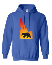 Load image into Gallery viewer, Pullover Hooded Sweatshirt Idaho Royal Black Bear Vibrant Design High Quality Tight Knit Ring Spun Low Maintenance Cotton Printed With The Newest Available Color Transfer Technology