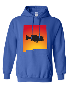 Pullover Hooded Sweatshirt New Mexico Royal Large Mouth Bass Vibrant Design High Quality Tight Knit Ring Spun Low Maintenance Cotton Printed With The Newest Available Color Transfer Technology