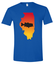 Load image into Gallery viewer, Short Sleeve T-Shirt Illinois Royal Large Mouth Bass Vibrant Design High Quality Tight Knit Ring Spun Low Maintenance Cotton Printed With The Newest Available Color Transfer Technology