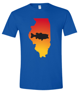 Short Sleeve T-Shirt Illinois Royal Large Mouth Bass Vibrant Design High Quality Tight Knit Ring Spun Low Maintenance Cotton Printed With The Newest Available Color Transfer Technology