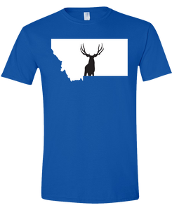 Short Sleeve T-Shirt Montana Royal Mule Deer Vibrant Design High Quality Tight Knit Ring Spun Low Maintenance Cotton Printed With The Newest Available Color Transfer Technology