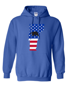 Pullover Hooded Sweatshirt Vermont Royal Black Bear Vibrant Design High Quality Tight Knit Ring Spun Low Maintenance Cotton Printed With The Newest Available Color Transfer Technology