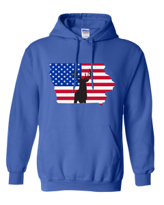 Pullover Hooded Sweatshirt Iowa Royal Whitetail Deer Vibrant Design High Quality Tight Knit Ring Spun Low Maintenance Cotton Printed With The Newest Available Color Transfer Technology