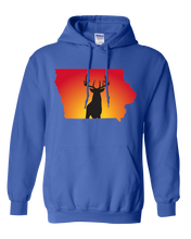 Load image into Gallery viewer, Pullover Hooded Sweatshirt Iowa Royal Whitetail Deer Vibrant Design High Quality Tight Knit Ring Spun Low Maintenance Cotton Printed With The Newest Available Color Transfer Technology