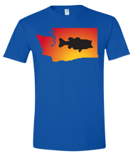 Load image into Gallery viewer, Short Sleeve T-Shirt Washington Royal Large Mouth Bass Vibrant Design High Quality Tight Knit Ring Spun Low Maintenance Cotton Printed With The Newest Available Color Transfer Technology