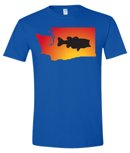 Short Sleeve T-Shirt Washington Royal Large Mouth Bass Vibrant Design High Quality Tight Knit Ring Spun Low Maintenance Cotton Printed With The Newest Available Color Transfer Technology