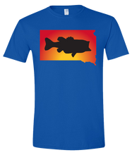 Load image into Gallery viewer, Short Sleeve T-Shirt South Dakota Royal Large Mouth Bass Vibrant Design High Quality Tight Knit Ring Spun Low Maintenance Cotton Printed With The Newest Available Color Transfer Technology