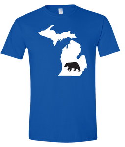 Short Sleeve T-Shirt Michigan Royal Black Bear Vibrant Design High Quality Tight Knit Ring Spun Low Maintenance Cotton Printed With The Newest Available Color Transfer Technology