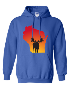 Pullover Hooded Sweatshirt Wisconsin Royal Moose Vibrant Design High Quality Tight Knit Ring Spun Low Maintenance Cotton Printed With The Newest Available Color Transfer Technology