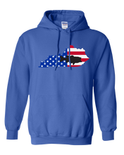 Load image into Gallery viewer, Pullover Hooded Sweatshirt Kentucky Royal Large Mouth Bass Vibrant Design High Quality Tight Knit Ring Spun Low Maintenance Cotton Printed With The Newest Available Color Transfer Technology