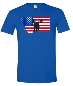 Short Sleeve T-Shirt Montana Royal Moose Vibrant Design High Quality Tight Knit Ring Spun Low Maintenance Cotton Printed With The Newest Available Color Transfer Technology