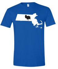 Load image into Gallery viewer, Short Sleeve T-Shirt Massachusetts Royal Turkey Vibrant Design High Quality Tight Knit Ring Spun Low Maintenance Cotton Printed With The Newest Available Color Transfer Technology