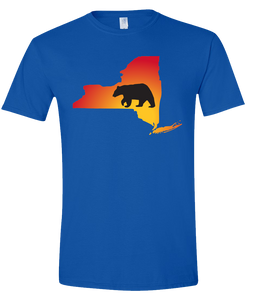 Short Sleeve T-Shirt New York Royal Black Bear Vibrant Design High Quality Tight Knit Ring Spun Low Maintenance Cotton Printed With The Newest Available Color Transfer Technology