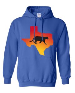Pullover Hooded Sweatshirt Texas Royal Mountain Lion Vibrant Design High Quality Tight Knit Ring Spun Low Maintenance Cotton Printed With The Newest Available Color Transfer Technology