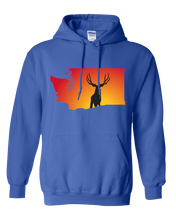 Load image into Gallery viewer, Pullover Hooded Sweatshirt Washington Royal Mule Deer Vibrant Design High Quality Tight Knit Ring Spun Low Maintenance Cotton Printed With The Newest Available Color Transfer Technology