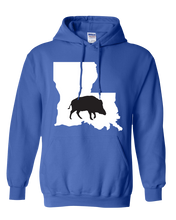 Load image into Gallery viewer, Pullover Hooded Sweatshirt Louisiana Royal Wild Hog Vibrant Design High Quality Tight Knit Ring Spun Low Maintenance Cotton Printed With The Newest Available Color Transfer Technology