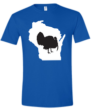 Load image into Gallery viewer, Short Sleeve T-Shirt Wisconsin Royal Turkey Vibrant Design High Quality Tight Knit Ring Spun Low Maintenance Cotton Printed With The Newest Available Color Transfer Technology