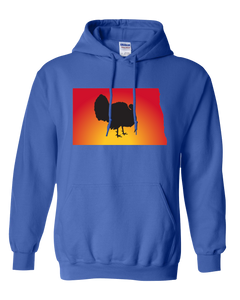Pullover Hooded Sweatshirt North Dakota Royal Turkey Vibrant Design High Quality Tight Knit Ring Spun Low Maintenance Cotton Printed With The Newest Available Color Transfer Technology