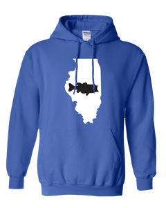 Pullover Hooded Sweatshirt Illinois Royal Large Mouth Bass Vibrant Design High Quality Tight Knit Ring Spun Low Maintenance Cotton Printed With The Newest Available Color Transfer Technology