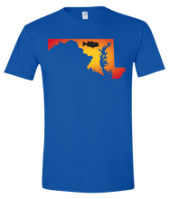 Load image into Gallery viewer, Short Sleeve T-Shirt Maryland Royal Large Mouth Bass Vibrant Design High Quality Tight Knit Ring Spun Low Maintenance Cotton Printed With The Newest Available Color Transfer Technology
