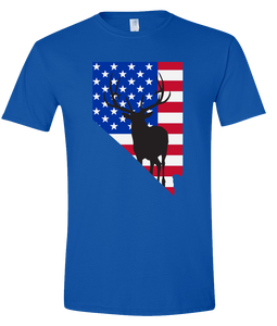 Short Sleeve T-Shirt Nevada Royal Elk Vibrant Design High Quality Tight Knit Ring Spun Low Maintenance Cotton Printed With The Newest Available Color Transfer Technology